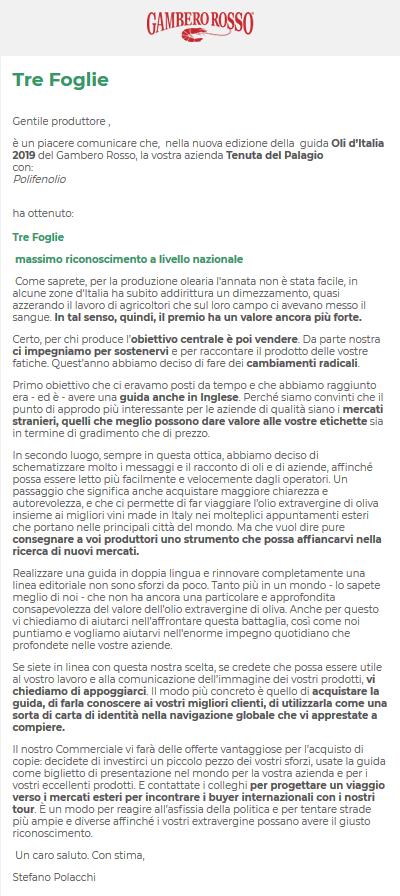 Tre Foglie Gambero Rosso 2019